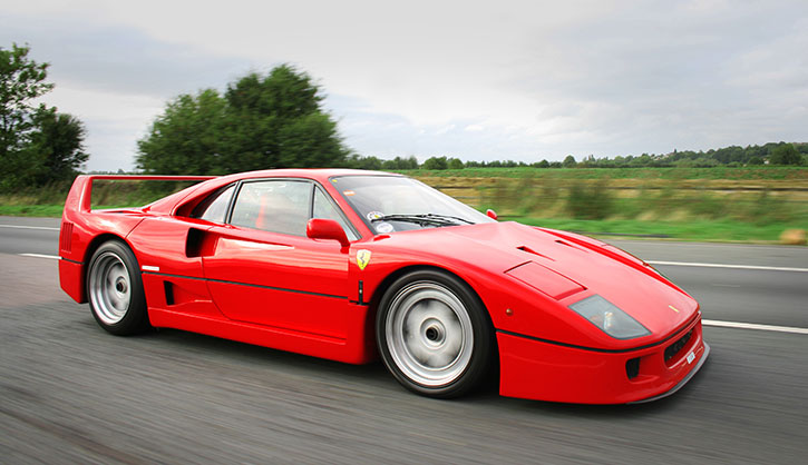 Ferrari F40 on the road