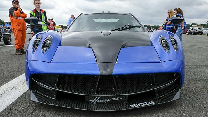 Front view of a Pagani Huayra at The Supercar Event