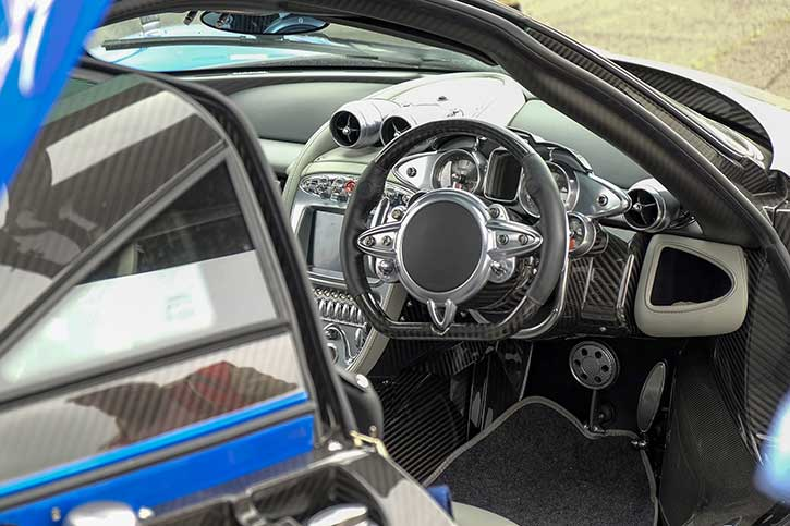 The interior of a Pagani Huayra